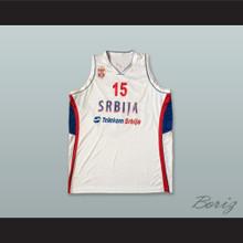 Darko Balaban 15 Serbia White Basketball Jersey
