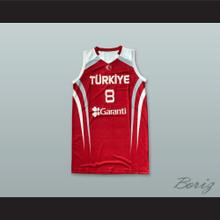 Ersan Ilyasova 8 Turkey Red Basketball Jersey