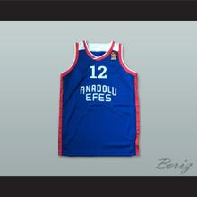 Anadolu Efes SK Istanbul Turkey 12 Blue Basketball Jersey