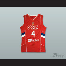 Milos Teodosic 4 Serbia Red Basketball Jersey