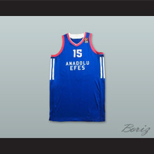 Vladimir Stimac 15 Anadolu Efes SK Istanbul Turkey Blue Basketball Jersey