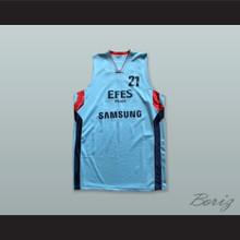 Bostjan Nachbar 21 Anadolu Efes SK Istanbul Turkey Light Blue Basketball Jersey