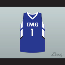 Player 1 IMG Academy Blue Basketball Jersey