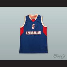 Alijevas 5 Azerbaijan Blue Basketball Jersey