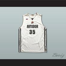 Artem Zabelin 35 BC Avtodor Saratov Russia White Basketball Jersey