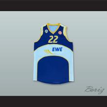 Gardner 22 EWE Baskets Oldenburg Germany Blue Basketball Jersey