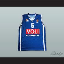 Nemanja Jaramaz 5 KK Buducnost Podgorica Montenegro Blue Basketball Jersey