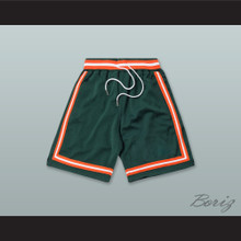 Dark Green Orange and White Basketball Shorts