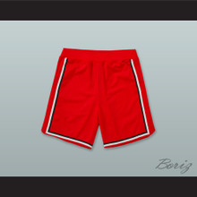 Red Black and White Stripes Basketball Shorts