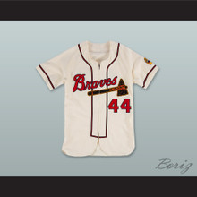 Hank Aaron 44 Milwaukee Braves Zip Up White Baseball Jersey