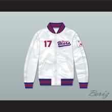 Doug Remer 17 Milwaukee Beers BASEketball White Varsity Letterman Satin Bomber Jacket
