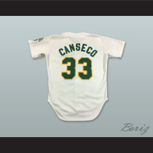 J Canseco 33 White Button Down Baseball Jersey
