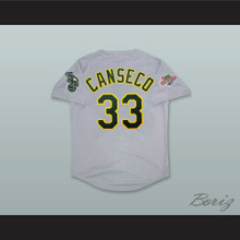 J Canseco 33 Gray Button Down 1990 WS Baseball Jersey