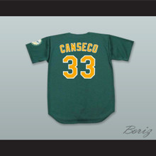 J Canseco 33 Green Button Down Baseball Jersey