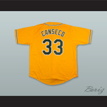 J Canseco 33 Gold Button Down Baseball Jersey