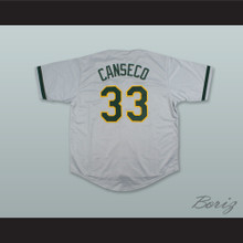 J Canseco 33 Grey Button Down Baseball Jersey