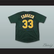 J Canseco 33 Dark Green Button Down Baseball Jersey