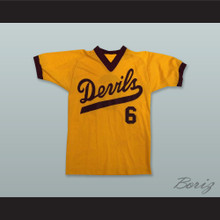 ASU Sun Devils 6 Yellow Gold Pullover Baseball Jersey