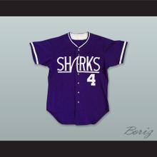 Honolulu Sharks 4 Purple Button Down Baseball Jersey