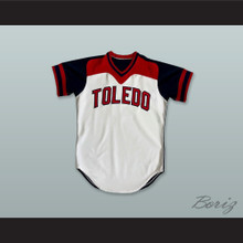 Toledo Mud Hens 9 White and Navy Blue  Pullover Baseball Jersey
