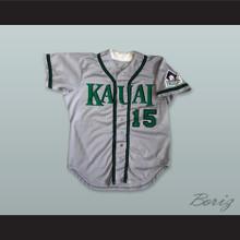 Kauai Emeralds Hawaii 15 Gray Button Down Baseball Jersey