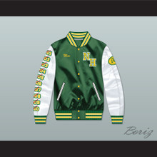 Mac Johnson N. Hale High School Dark Green Deluxe Varsity Letterman Satin Bomber Jacket
