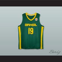 Leandro Barbosa 19 Brasil National Team Green Basketball Jersey