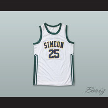 Derrick Rose 25 Simeon Career Academy Wolverines White Basketball Jersey