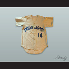 Ambassadors 14 Beige Button Down Baseball Jersey