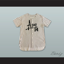 ASAP Rocky 14 Worldwide White Pinstriped Baseball Jersey