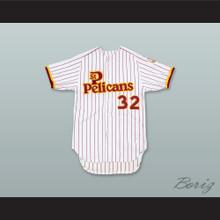 Jon Matlack 32 St Petersburg Pelicans White Pinstriped Baseball Jersey