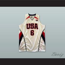 Lebron James 6 USA White Basketball Jersey
