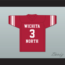 Barry Sanders 3 Wichita North High School Redskins Red Football Jersey 2