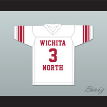 Barry Sanders 3 Wichita North High School Redskins White Football Jersey 2