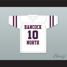 Brett Favre 10 Hancock North Central High School Hawks White Football Jersey 3
