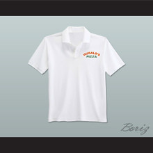 Ricky Bobby Hugalo's Pizza Logo 1 White Polo Shirt