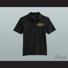 Ricky Bobby Hugalo's Pizza Logo 2 Black Polo Shirt