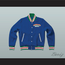 Hugalo's Pizza Blue Varsity Letterman Jacket-Style Sweatshirt