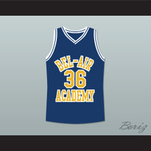 The Fresh Prince of Bel-Air Jazzy Jeff 36 Jazz Bel-Air Academy Blue Basketball Jersey