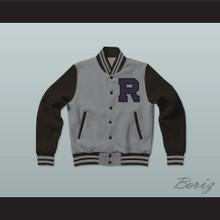 Troy Barnes Riverside High School Community TV Show Gray and Black Varsity Letterman Jacket-Style Sweatshirt