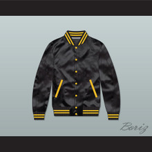 Black and Gold Varsity Letterman Satin Bomber Jacket