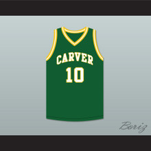 Tim Hardaway 10 Carver Military Academy Challengers Green Basketball Jersey 2