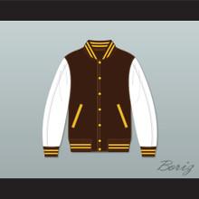 Broome Dusters Brown and White Varsity Letterman Jacket-Style Sweatshirt 1