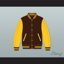 Broome Dusters Brown and Yellow Varsity Letterman Jacket-Style Sweatshirt 1