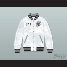 DMX Ruff Ryders White Varsity Letterman Satin Bomber Jacket