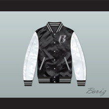 Ruff Ryders Black and White Varsity Letterman Satin Bomber Jacket