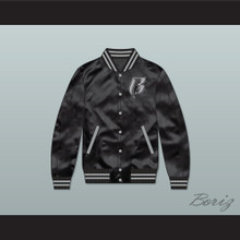 Ruff Ryders Black Varsity Letterman Satin Bomber Jacket