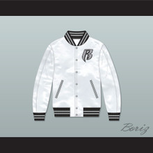 Ruff Ryders White Varsity Letterman Satin Bomber Jacket