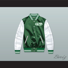 Toronto St Pats Green and White Varsity Letterman Satin Bomber Jacket