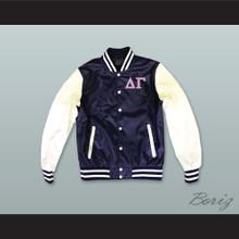 Delta Gamma Sorority Navy Blue and White Lab Leather Varsity Letterman Jacket